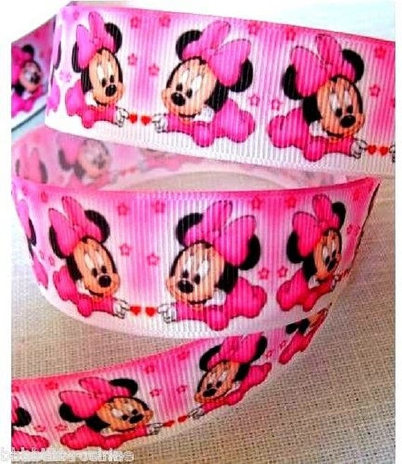 MINNIE MOUSE GROSGRAIN RIBBON SCRAPBOOKING 1 METRE 25 MM WIDTH