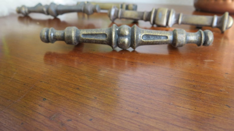 4 Lot of Mixed Midcentury Antique T-Bar Style Vintage Boho Hardware Handle Dresser Drawer Pulls Brass Set of Four