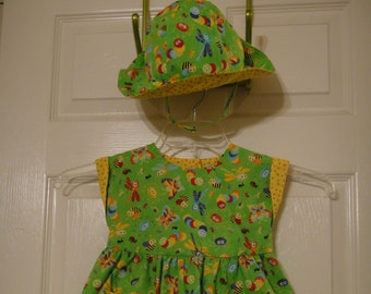 Toddler 24 mo. dress with matching bloomers and sun hat