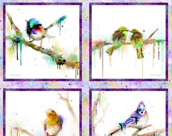 NEW Color Splash Birds panel from 3Wishes