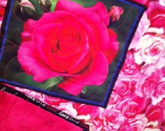 Pink Roses Quilt for Valentine's Day