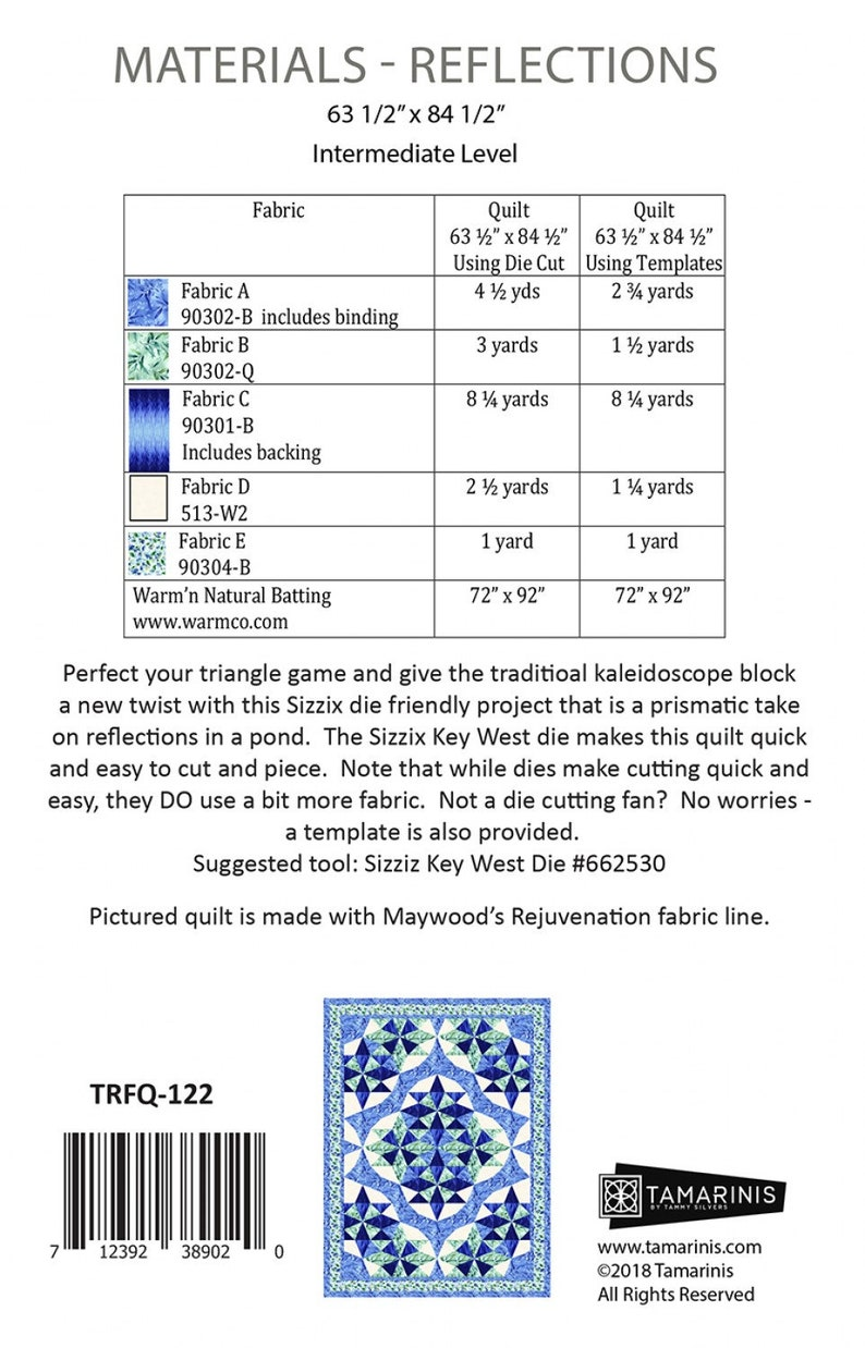Reflections quilt pattern by Tammy Silvers for Tamarinis