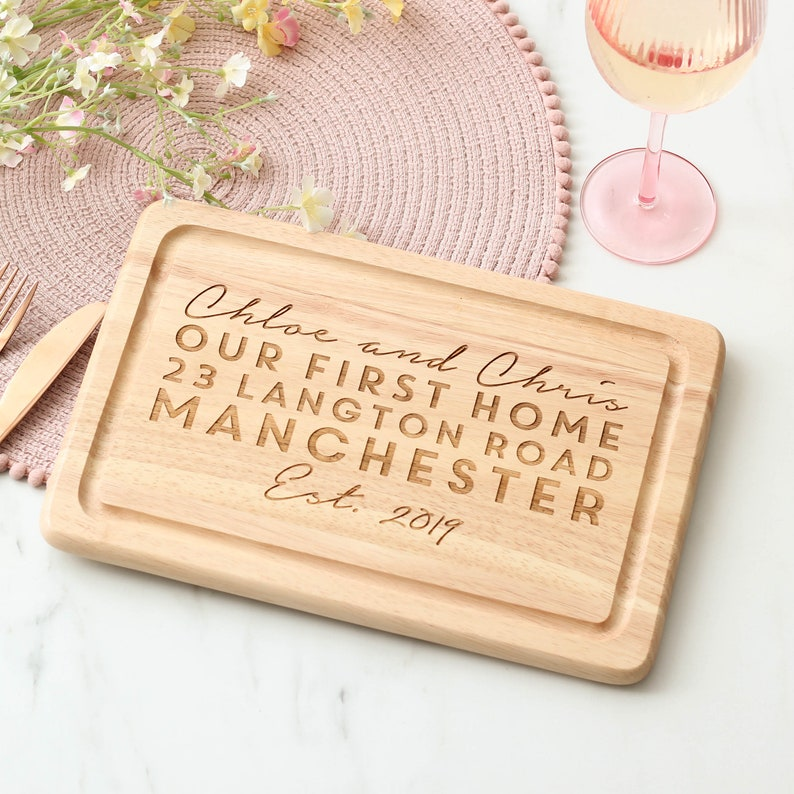 Wedding Anniversary Housewarming Gift Custom Present for her /& Him Gift for Couple Personalised New First Home Wooden Chopping Board