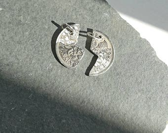 Sixpence Coin, Hand-Cut, Sharing, Love, Anniversary, Valentine, Gift, Necklace, Pendant, Lucky Coin, Silver, Birthday