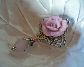 Romantic pink and silver brooch