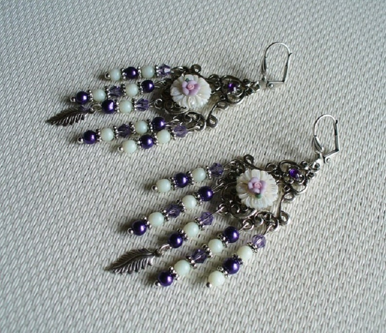 white and silver Chandelier earrings purple