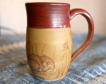 Hand-thrown Porcelain Rust Brown Mug | Original Design | Kangaroo Rat | Nature Design