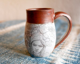 Hand-thrown Porcelain Rust Rim Blue Mug | Original Design | Thinking Girl | Fantasy Design