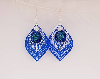 Blue and white leaf earrings