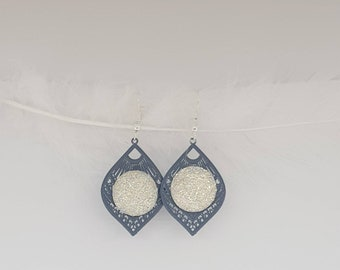 Bright white and gray leaf earrings