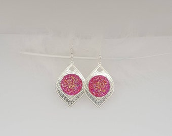 Bright pink and silver leaf earring