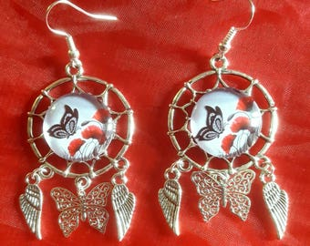 Butterfly and poppy earrings