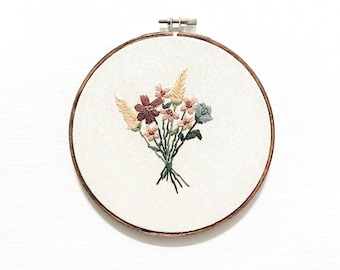 B O U Q U E T, Floral Bouquet, Hand Embroidery, Hand Stitched, Cross Stitch, Hoop Art, Floral Embroidery, Flowers