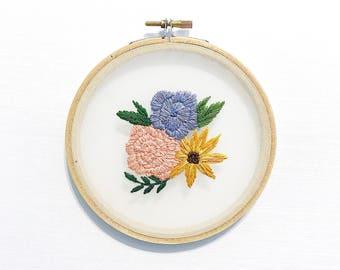 F L O R A L, Floral Arrangment on Organza, Hand Embroidery, Hand Stitched, Cross Stitch, Hoop Art, Floating Art, floating embroidery