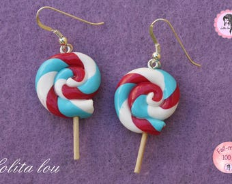 Gourmet jewelry: Lollipop lollipop medley of Harlequin polymer clay earrings