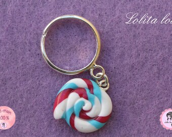 Gourmet jewelry: ring Lollipop lollipop medley of Harlequin polymer clay