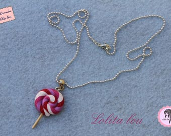 Gourmet jewelry: polymer clay in the morning dew lollipop necklace