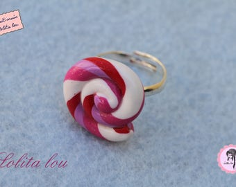 Gourmet jewelry: ring Lollipop lollipop polymer clay in the morning dew