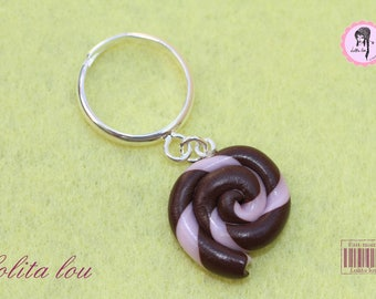 Gourmet jewelry: ring Lollipop lollipop chocolate/gray polymer clay