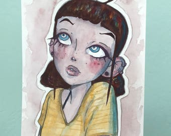 Original Watercolor Painting of a Girl