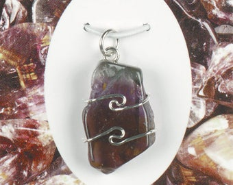 One Cacoxenite in Amethyst Wire Wrap Pendant! .925 Sterling Silver! Regenerates The Body! Spiritual Cleansing And Purification!