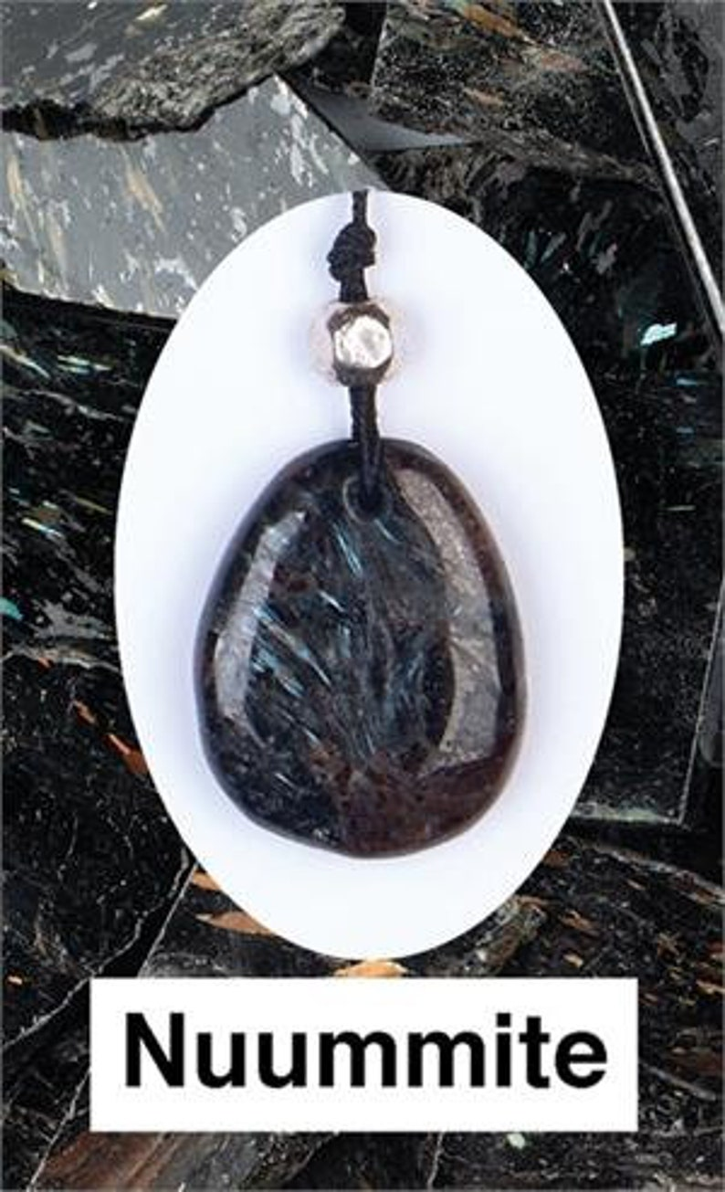 Genuine Polished Freeform Stone All WIth Color Flashes! Genuine Nuummite From Greenland Attached Adjustable Cord One Nuummite Pendant
