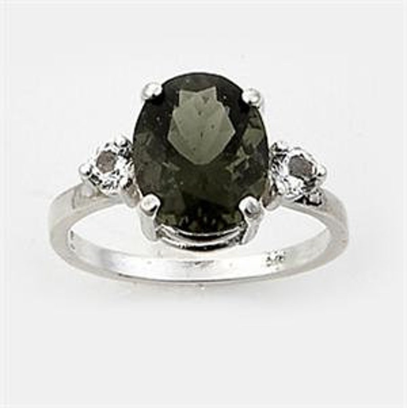 925 Sterling Silver Choose Size Moldavite Ring With Danburite Certificate of Authenticity Faceted Gem Quality Moldavite /& Danburite!