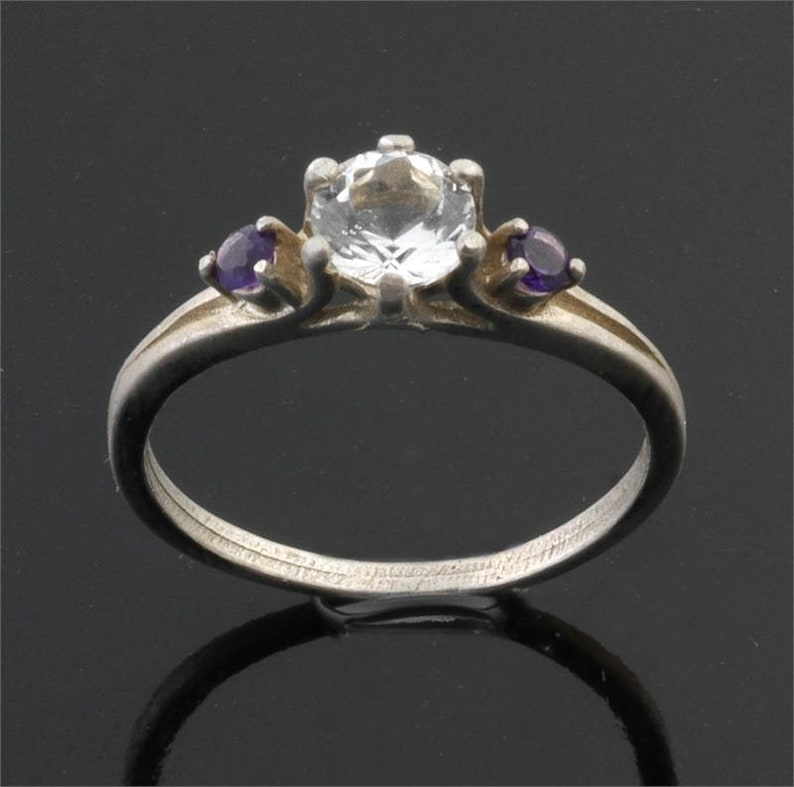 Faceted Gem Quality Round Gem Certificate of Authenticity 6mm x 6mm Satyaloka Clear Azeztulite Ring With Amethyst 925 Sterling Silver!