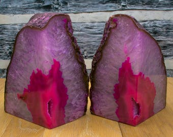 Brazilian Agate Bookend Geode Bookend - Large - Pink