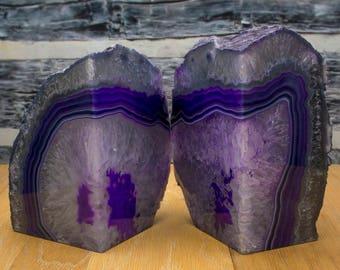 Brazilian Agate Bookend Geode Bookend - Large - Purple