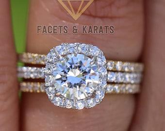 2.5 CT Round Halo Engagement Ring band Bridal set Solid 14k White Gold, Unique White Gold Engagement Rings by FACETS & KARATS