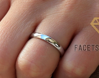 14K SOLID Plain Gold Ring Solid Gold Wedding Band 2mm, Men or Women Sizes 3-13 Available Yellow Gold- Rose Gold- White Gold Facets & Karats