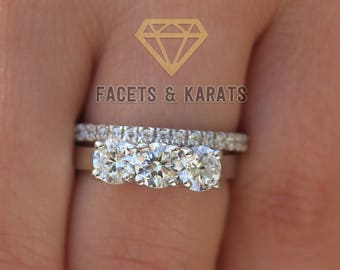 Rose Gold Three Stone Engagement Ring Wedding Ring Set Etsy