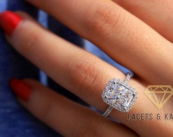 2 pcs set European Silver Cubic Zircon CZ Engagement Ring Set 2.36 Carat SIZE 9