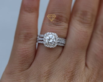 2 5 Ctw Wedding Engagement Ring Set With Double Wedding Bands Etsy