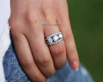 Three Stone Engagement Ring Etsy
