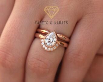 Unique Pear Shaped Engagement Ring Boho Bridal Ring Set V Etsy
