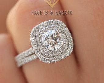 Halo Engagement Ring Etsy