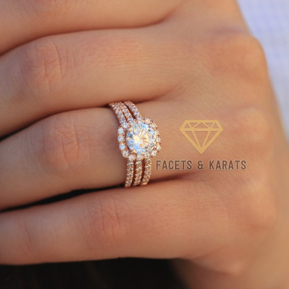 b6410be4f5f04 2.75 tcw Rose Gold Engagement Ring Set 18K SOLID Rose Gold Wedding Ring  With Double Matching Wedding Bands Facets & Karats on Etsy Jewelry
