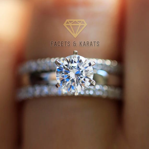 2 Carat Solitaire Engagement Ring Set with Double Wedding  212436ef3e