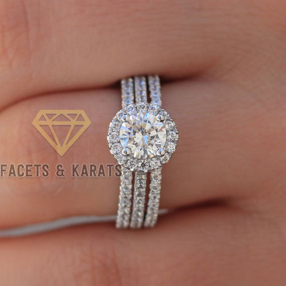 Platinum Engagement Ring And Double Wedding Band Bridal