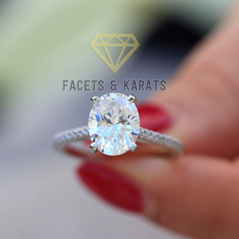 c8a9f6dec3231 2 Carat Oval Engagement Ring Thin Band 14k Solid White Gold Available in  Yellow Gold and Rose Gold by Facets & Karats Oval Cut Bridal Ring