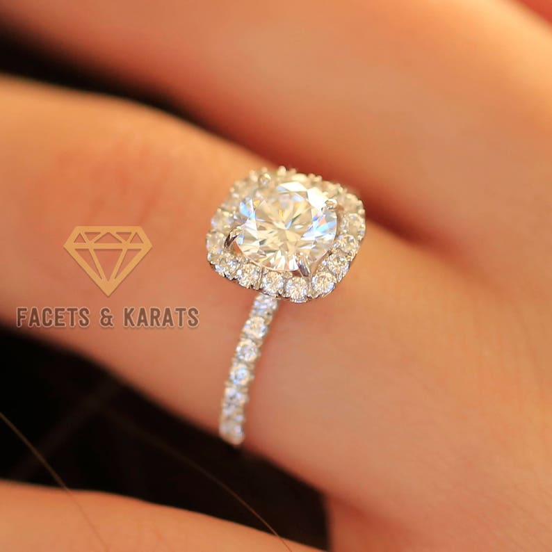 18k White Gold Cushion Cut Halo Engagement Ring 2 Carat Round Cut Bridal Wedding Ring Lab Created Man Made Synthetic Simulated Diamonds