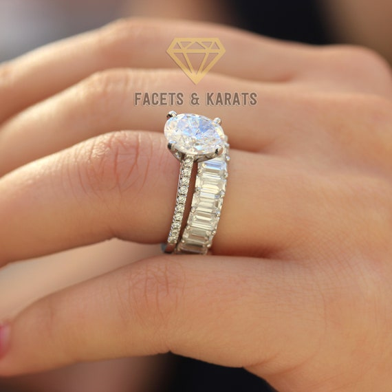 Wedding Ring Sets.Oval Engagement Ring Set Wedding Ring Set Wedding Rings Bridal Sets Wedding Sets Wedding Band Sets Emerald Cut Eternity Band 14k White Gold