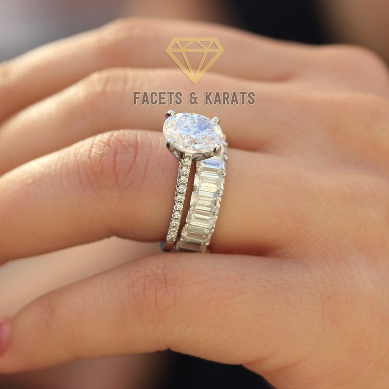 Wedding Band Sets.Oval Engagement Ring Set Wedding Ring Set Wedding Rings Bridal Sets Wedding Sets Wedding Band Sets Emerald Cut Eternity Band 14k White Gold