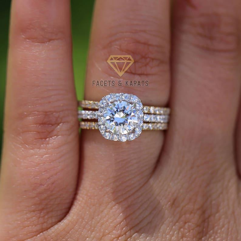 2.5 CT Round Halo Engagement Ring band Bridal set Solid 14k image 0