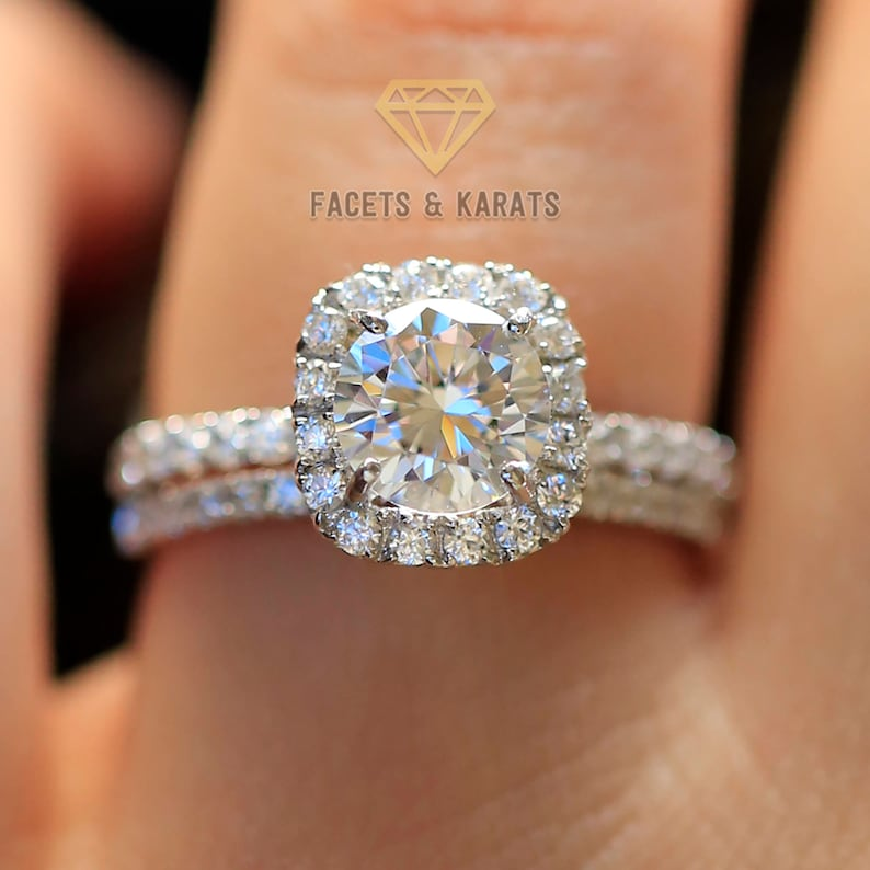 2.20 ctw Round Halo Engagement Ring Bridal Set Wedding Band image 0
