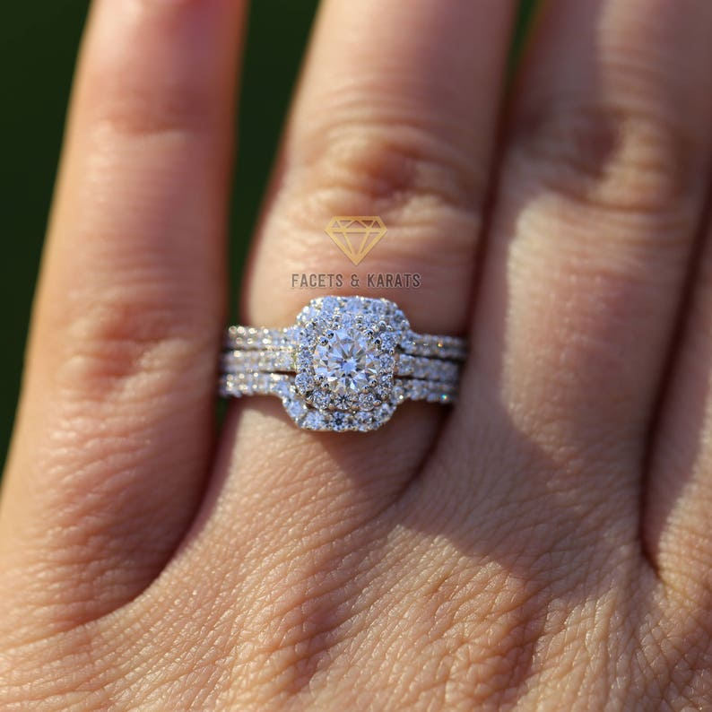 1551e2ba2fdaa Round Cut Halo Engagement Ring Double Curved Matching Wedding Bands 14k  White Gold 1.5 ctw Lab Created Man Made Synthetic Simulated Diamonds