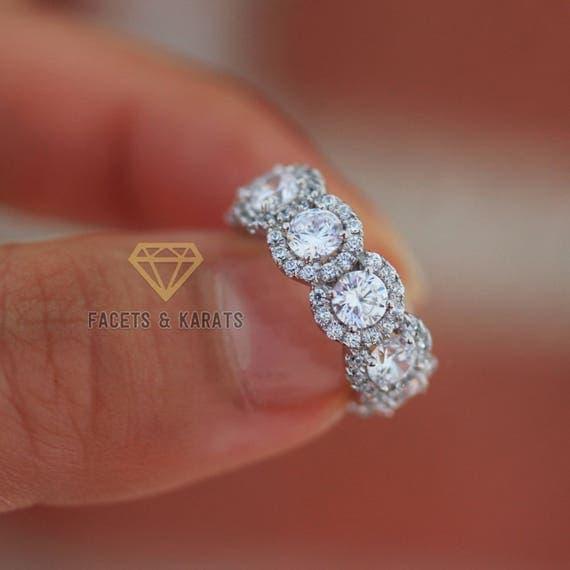 9 CT Oro Blanco Diamante Anillo 0.15 CT-en Caja de Regalo Vestido