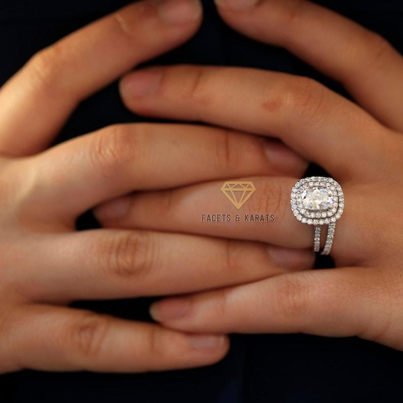 88b4ba6670570c 3 ctw Cushion Radiant Cut Double Halo Engagement Ring Wedding | Etsy